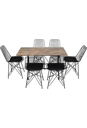 Arsayt 70 x 120 Ahşap Parke Desenli Kompakt Masa + 6 Tel Sandalye