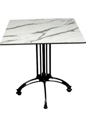 Arsayt 70 x 70 Beyaz Mermer Desenli Kompakt Masa Tablası + Alüminyum Döküm Ayak