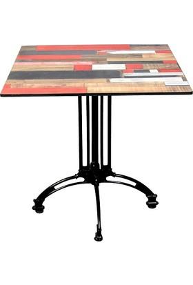 Arsayt 70 x 70 Kırmızılı Ahşap Parke Desenli Kompakt Masa Tablası + Alüminyum Döküm Ayak