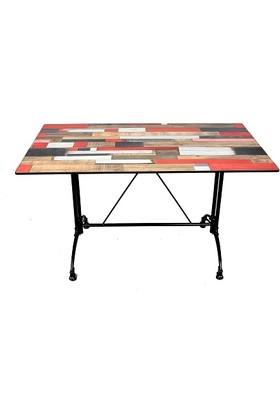 Arsayt 70 x 120 Kırmızılı Ahşap Parke Desenli Kompakt Masa Tablası + Alüminyum Döküm Ayak