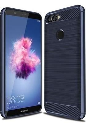 Teleplus Huawei P Smart Özel Karbon ve Silikonlu Kılıf Lacivert