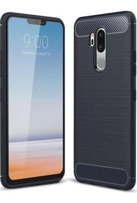 Teleplus LG G7 Özel Karbon ve Silikonlu Kılıf Lacivert
