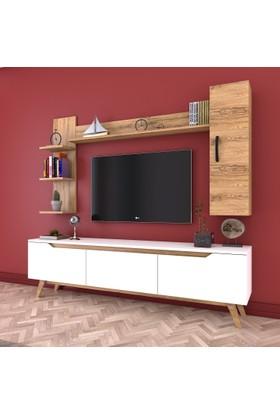 Rani D1 Duvar Raflı Kitaplıklı Tv Ünitesi Duvara Monte Dolaplı Ahşap Ayaklı Tv Sehpası Beyaz Ceviz M20