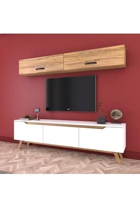 Rani D1 Duvar Raflı Kitaplıklı Tv Ünitesi Duvara Monte Dolaplı Ahşap Ayaklı Tv Sehpası Beyaz Ceviz M19