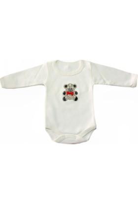 Kidsmadamiko Kız Bebek Uzun Kollu Ayıcık Taşlı Body - Zıbın