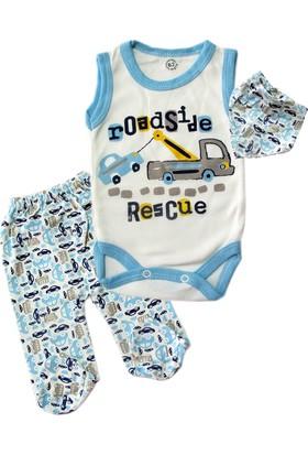 Kidsmadamiko Erkek Bebek Fularlı Araba Baskılı Body Zıbın