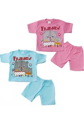 Kidsmadamiko Kız Bebek Ayıcık Baskılı Yazlık Pijama Takımı