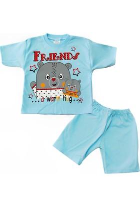 Kidsmadamiko Erkek Bebek Ayıcık Baskılı Pijama Takım