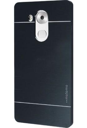 Gpack Huawei Mate 8 Kılıf Metal Motomo Arka Kapak Nano Glass Siyah