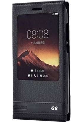 Gpack Huawei G8 Kılıf Elite Gizli Mıknatıslı Kapaklı Nano Glass Siyah