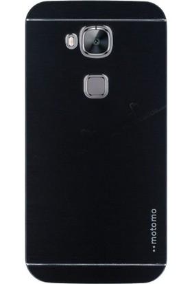 Gpack Huawei G8 Kılıf Metal Motomo Arka Kapak Nano Glass Siyah