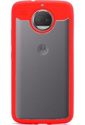 Gpack Lenovo Moto G5S Kılıf Buttom Silikon Arka Kapak Nano Glass Kırmızı