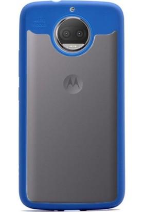 Gpack Lenovo Moto G5S Kılıf Buttom Silikon Arka Kapak Nano Glass Mavi