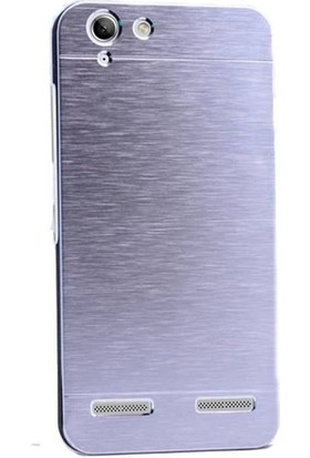 Gpack Lenovo K5 Kılıf Metal Motomo Arka Kapak Nano Glass Gümüş