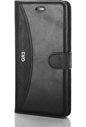 Gpack Huawei Gr3 Kılıf Mmc Cüzdan Kartvizitli Standlı Cüzdan Siyah