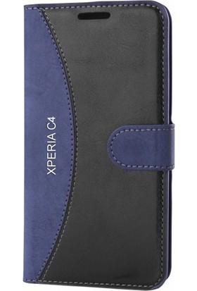 Gpack Sony Xperia C4 Kılıf Mmc Cüzdan Kartvizitli Kapaklı Cam Koruma Lacivert