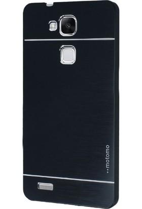 Gpack Huawei Gr3 Kılıf Metal Motomo Arka Kapak Nano Glass Siyah