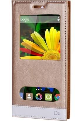 Gpack General Mobile Discovery 2 Kılıf Milano Mıknatıslı Cam Koruma Gold
