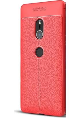Gpack Sony Xperia XZ2 Kılıf Niss Silikon Deri Görünümlü Nano Kalem Kırmızı