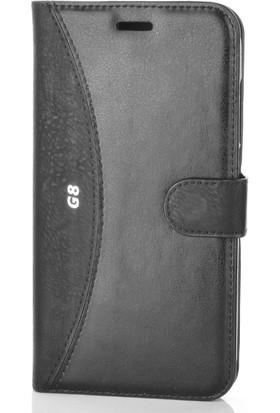 Gpack Huawei G8 Kılıf Mmc Cüzdan Kartvizitli Standlı Cüzdan Siyah