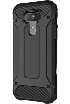 Gpack LG G5 Kılıf Crash Zırh Koruma Nano Glass Siyah