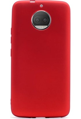 Gpack Lenovo Moto G5S Premier Silikon Kılıf Nano Glass Koruyucu Kırmızı