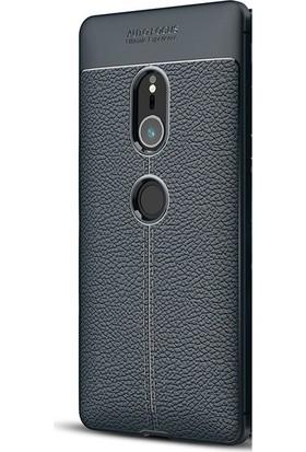 Gpack Sony Xperia XZ2 Kılıf Niss Silikon Deri Görünümlü Arka Kapak Lacivert