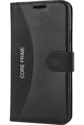 Gpack Samsung Galaxy Core Prime Kılıf Mmc Cüzdan Kartvizitli Cam Kalem Siyah