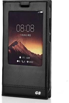 Gpack Huawei G8 Kılıf Milano Gizli Mıknatıslı Nano Glass Siyah