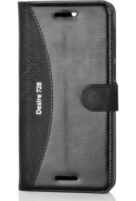 Gpack HTC Desire 728 Kılıf Mmc Cüzdan Kartvizitli Standlı Cüzdan Siyah