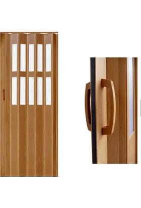 Decotex Camlı Akordiyon Kapı Meşe 83x205 PVC Katlanır Kapı