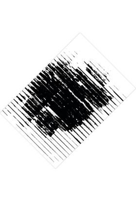 Cici Halı Siyah Beyaz Çizgili Eskitme Lastikli Halı Örtüsü - 120 x 180 cm