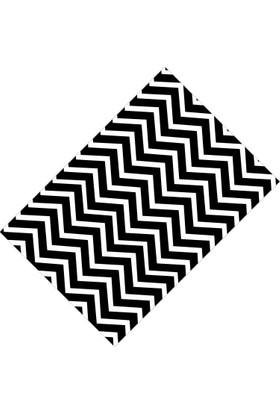 Cici Halı Siyah Beyaz Zigzag Lastikli Halı Örtüsü - 120 x 180 cm