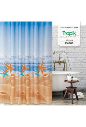 Zethome Tropik Banyo Duş Perdesi 11128 Çift Kanat 2X120x200