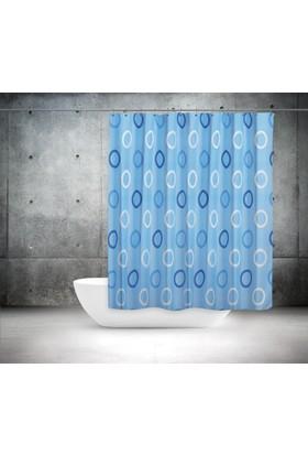 Zethome Tropik Banyo Duş Perdesi 5033 Çift Kanat Mavi 2X120x200