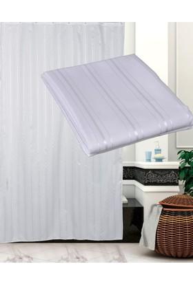 Zethome Tropik Otel Banyo Duş Perdesi A200 Beyaz Çift Kanat 2x120x200