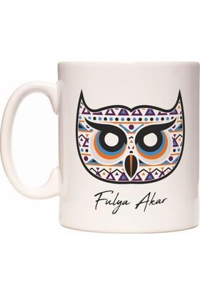 Rock'n Fox Baykuş Tasarım Kişiye İsme Özel İsim Yazılabilir Kupa Bardak
