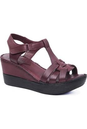 Beta Deri Kadın Sandalet-Bordo