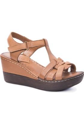 Beta Deri Kadın Sandalet-Taba