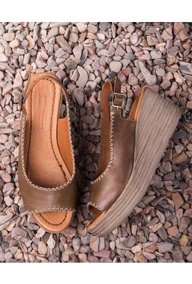 Beta Deri Kadın Sandalet-Vizon