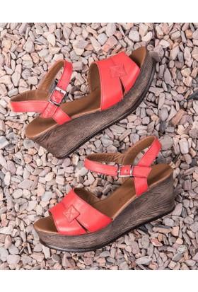 Beta Deri Kadın Sandalet-Kırmızı