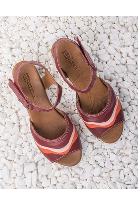 Beta Deri Kadın Sandalet-Bordo Kombin