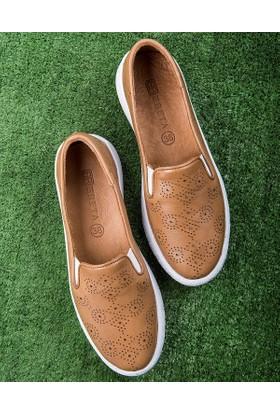 Beta Deri Kadın Ayakkabı-Taba