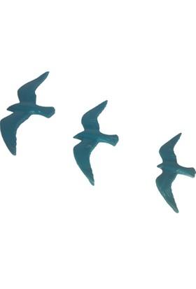 CajuArt Üçlü Uçan Kuş Dekoratif Duvar Süsü Ev Dekor Objesi