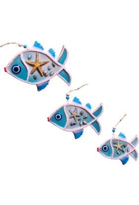 CajuArt Dekoratif Üçlü Balık Duvar Süsü Deniz Yıldızı ve Kabuklu