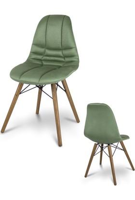 Visuel Mutfak Ofis Cafe Ahşap Ayak Kumaş Sandalye Yeşil
