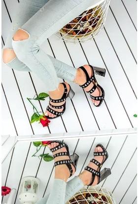 Awon Carmen Taşlı Bantlı Topuklu Kadın Ayakkabı