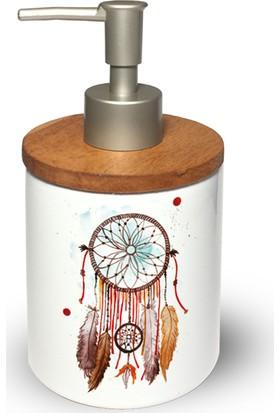 If Dizayn Düş Kapanı Tasarım Ahşap Kapaklı Seramik Sıvı Sabunluk