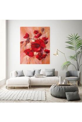 Diji Kanvas Kırmızı Çiçekler Yağlı Boya Kanvas Tablo