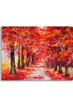 Diji Kanvas Kırmızı Sonbahar Yağlı Boya Kanvas Tablo